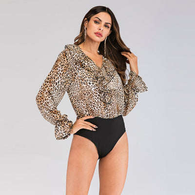 Leopard Floral Long sleeve Gored Jumpsuits