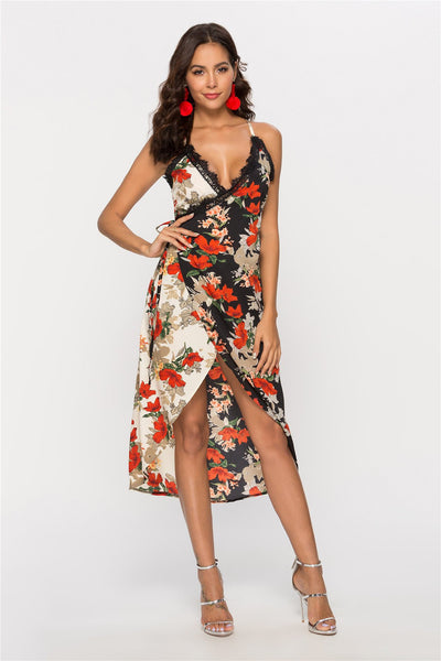 Floral Lace Vest Vocation Maxi Dresses