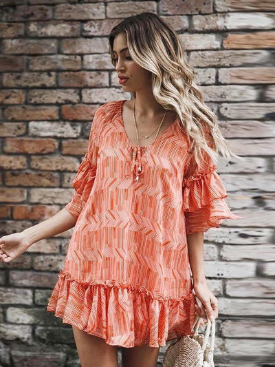 Casual V neck Loose Short sleeve Shift Dresses