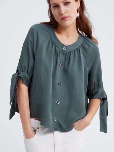 Fashion  Satin Lacing Blouses