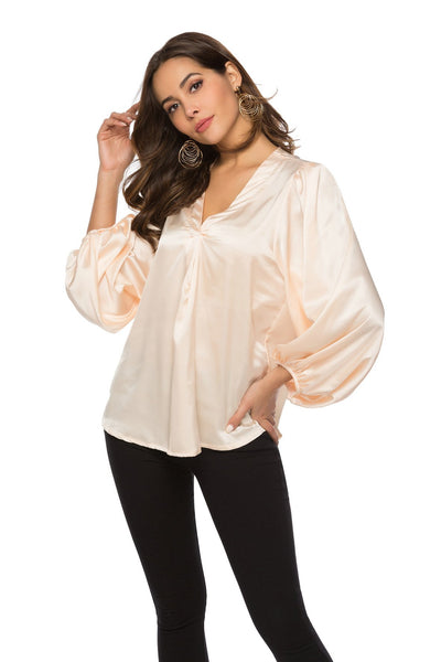 Fashion V neck Loose Blouses