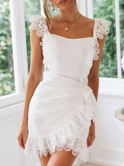 Off shoulder Lace Backless Skater Dresses