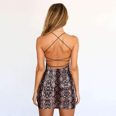 Snakeskin Backless Lacing Bodycon Dresses