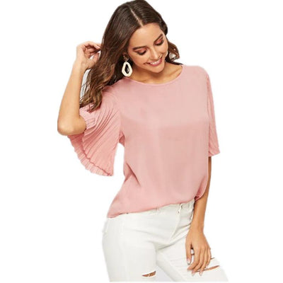 Fashion Fold sleeve Women T-Shirts