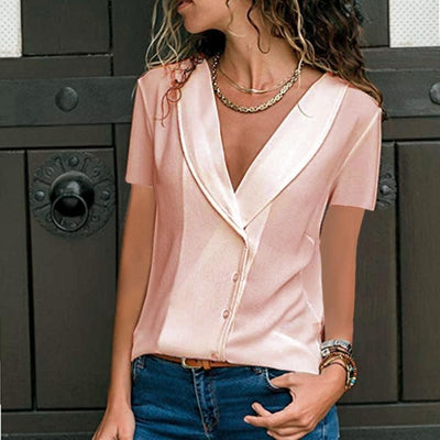 Pure V neck Casual Women Blouses