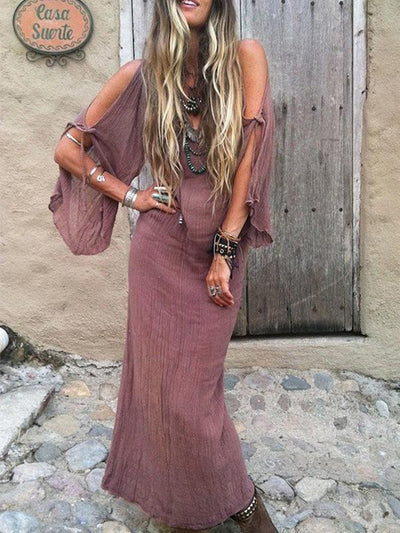 Vintage Deep V-neck  Flared Sleeves Off Shoulder Maxi Dress