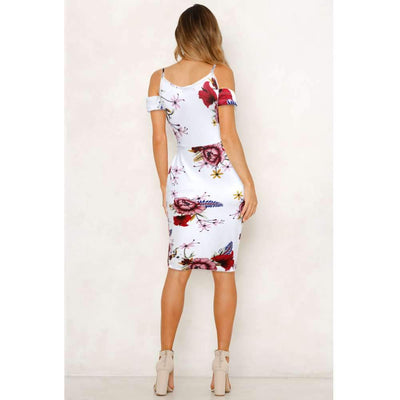 Sexy Off shoulder Print Vest Bodycon Dresses