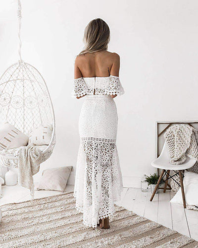 Sexy Off shoulder Lace Suits Bodycon Dresses