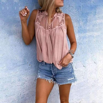 Lace V neck Sleeveless  Chiffon Blouses