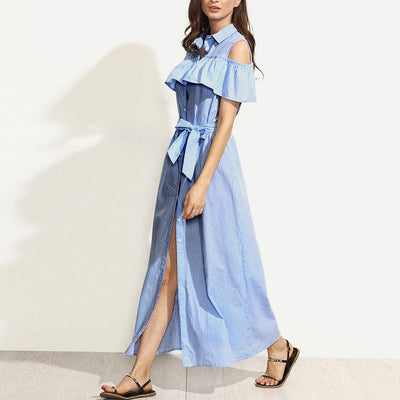 Fashion Stripe Falbala Lacing Maxi Skater Dresses