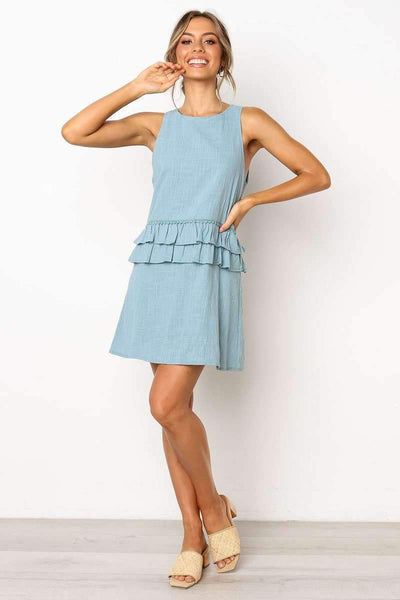 Pure Falbala Sleeveless Shift Dresses