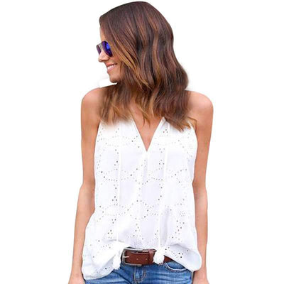 Casual Sleeveless V neck Vest T-Shirts