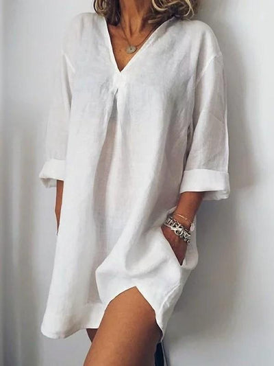 Casual V neck Cotton Shift Dresses