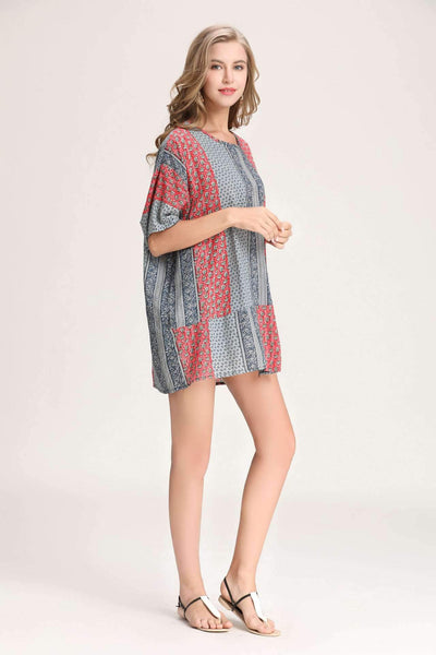 Loose Print Vent Short sleeve T-Shirts