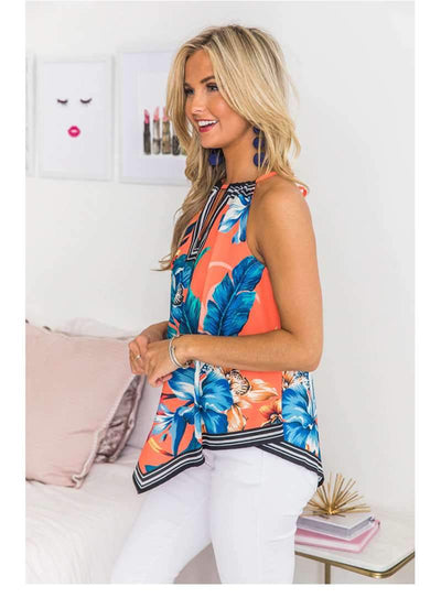 Casual Floral V neck Vest T-Shirts
