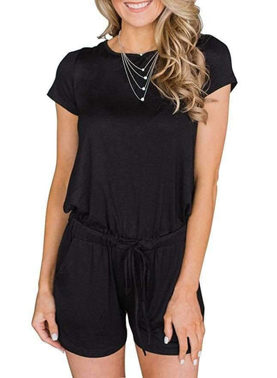 Casual Short sleeve Lacing Jumpsuits