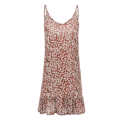 Fashion Sexy Vest Floral Vocation Shift Dresses