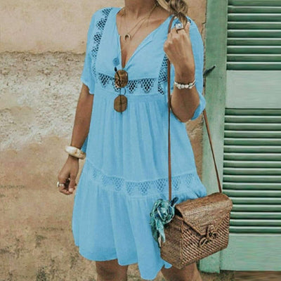 New Women Cutout V neck Pure Loose Shift Dresses