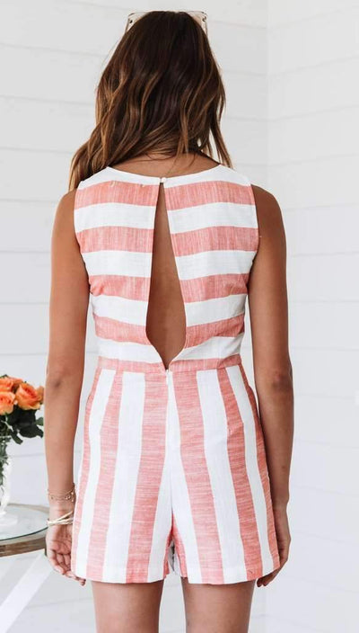 Sexy Stripe Sleeveless Jumpsuits