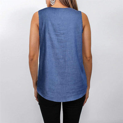 Sleeveless V neck Zipper Jean T-Shirts
