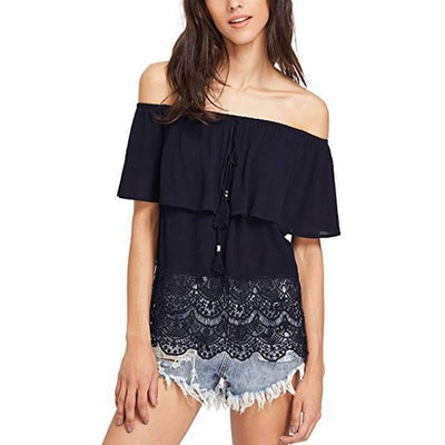 Off shoulder Gored Lace T-Shirts
