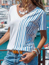 Floral Stripe V neck Short sleeve T-shirts