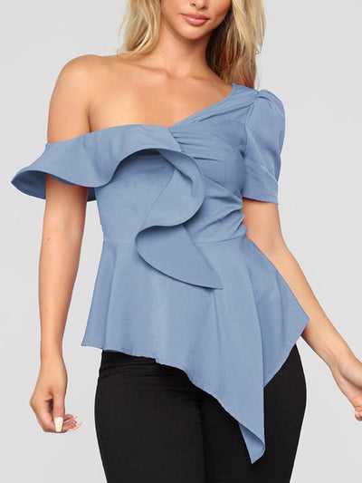 Women Sexy Chic One off shoulder plain blouses