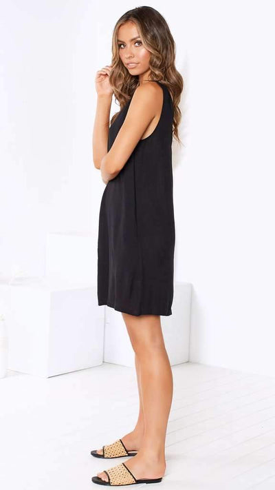 Pure Simple V neck Loose Shift Dresses