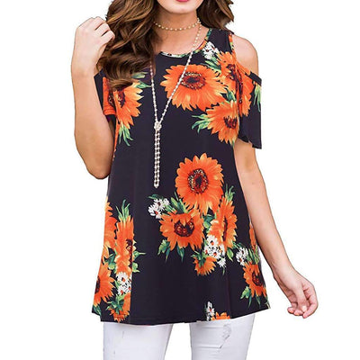Casual Short sleeve Off shoulder Floral T-Shirts