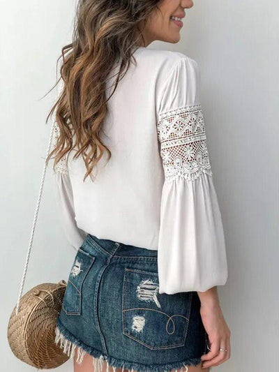 White Lace Sweet Long Sleeve Women Blouses
