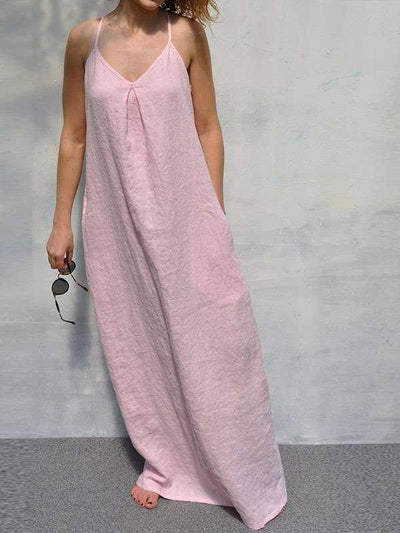 Casual Sleeveless Cotton Loose Maxi Dresses