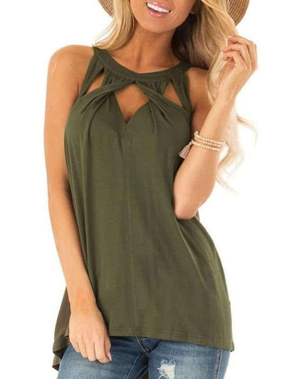 Sexy Cutout Sleeveless T-Shirts