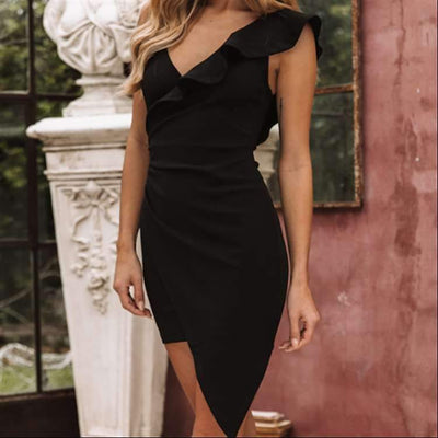 Single shoulder Falbala V neck Irregular Bodycon Dresses