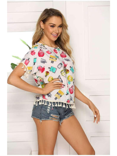 Loose Print Round neck Short sleeve T-Shirts