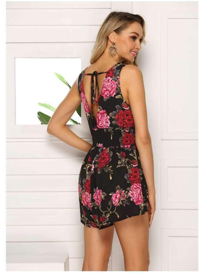 Fashion Sexy Print V neck Jumpsuits