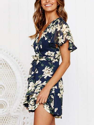 Fashion Floral Printed Short Sleeves Deep V Printed Skater Dresses