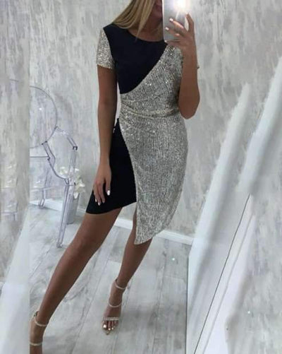 Sexy Gored Round neck Short sleeve Bodycon Dresses