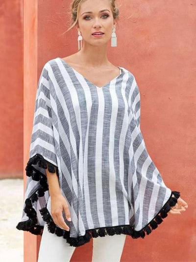Fashion Stripe V neck Top