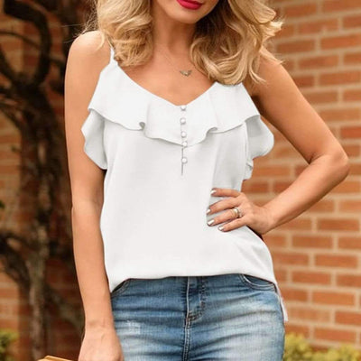 Summer Sweet  Falbala Sleeveless Vest T-Shirts