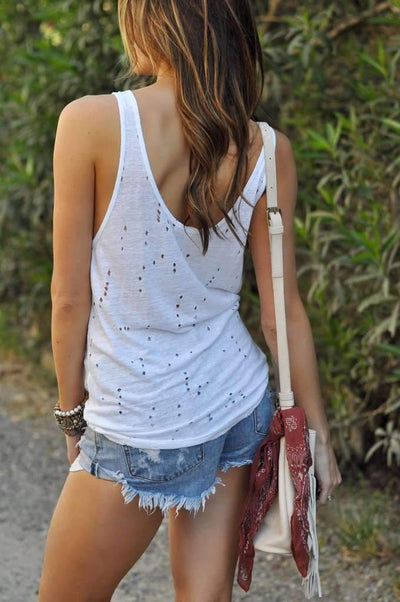 Fashion V neck Backless Vests