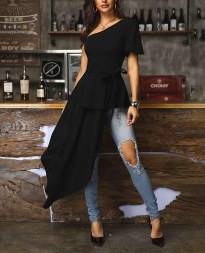 Sexy Single shoulder Drape Irregular Skater Dresses