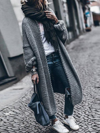 Long Sleeve Knit Long Coats Cardigans