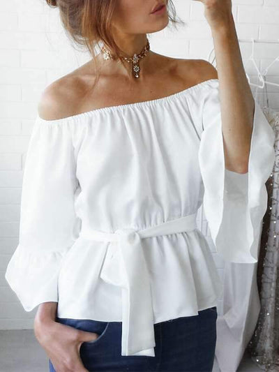 Solid color chiffon Loose Off Shoulder Flared sleeves T-shirts