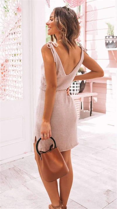 Casual V neck Lacing Irregular Skater Dresses