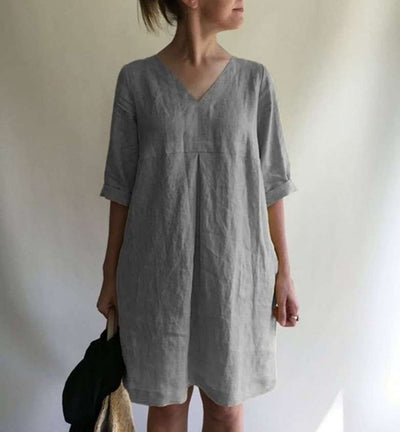 Casual Loose Pure V neck Half sleeve Shift Dresses
