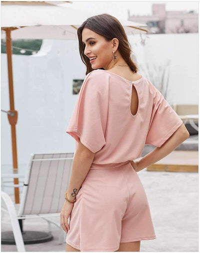 Casual Pure Round neck Lacing Jumpsuits