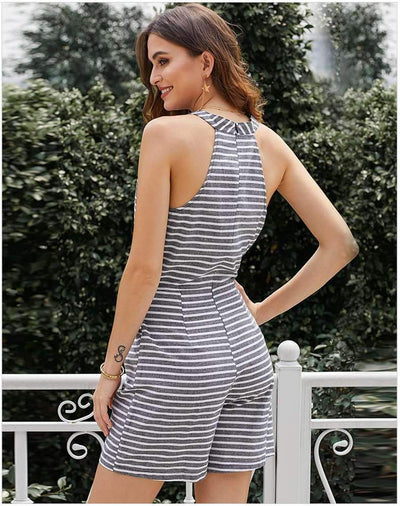 Fashion Stripe Lacing Jumpsuits