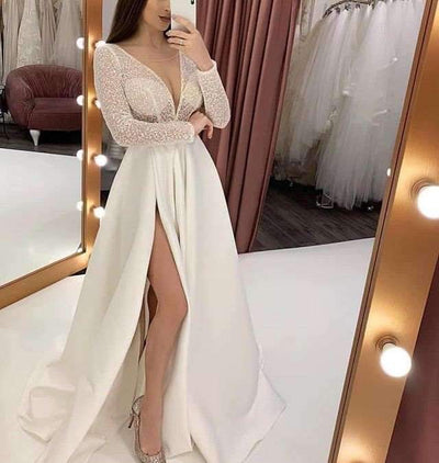 Sexy V neck  Perspective Evening Dresses