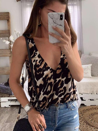 Sexy Loose V neck Leopard Print Vests