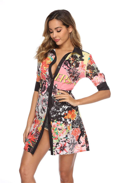 Fashion Print Short sleeve Blouse Shift Dresses